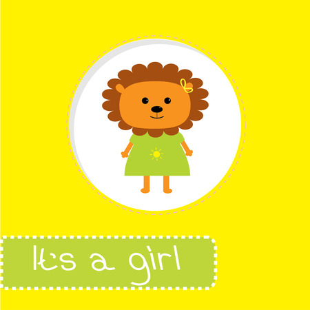 Baby shower card with lion. Its a girl. Vector illustration. Vector