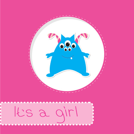 Baby shower card with monster. It's a girl. Vector illustration. Vector
