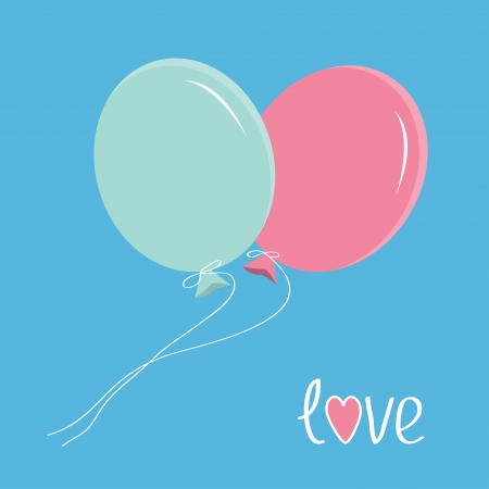 Two flying balloons. Love card. Vector illustration. Vector