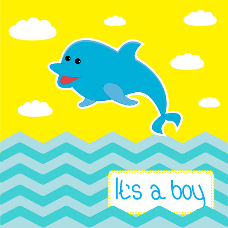 chap: Baby boy shower card with cute dolphin. Vector illustration