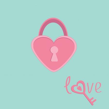 Padlock in shape of heart. Love card. Vector illustration Vector