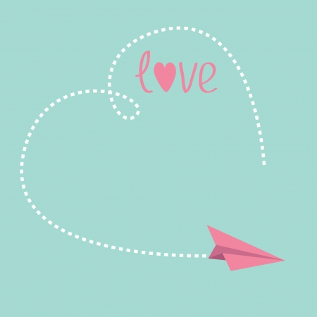 Origami paper plane. Big dash heart in the sky. Love card. Vector illustration. Vector
