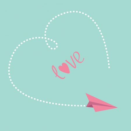 Flying paper plane. Big dash heart in the sky. Love card. Vector illustration. Vector