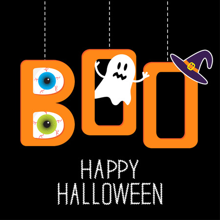 Hanging word BOO with ghost, eyeballs and witch's hat . Happy Halloween card. Vector illustration.