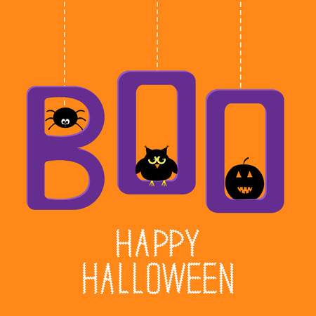 Hanging word BOO with spider, owl and pumpkin . Happy Halloween card. Vector illustration. Vector