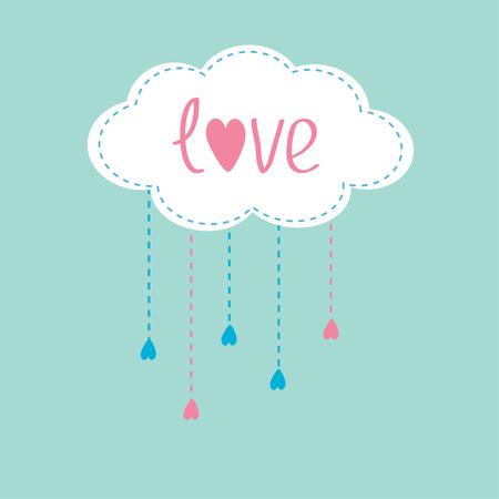 rain cloud: Cloud with hanging rain drops and word Love. Card.