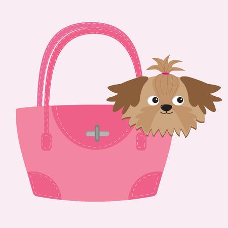 ピンクの袋に小さなグラマー日焼けシーズー犬。  イラスト・ベクター素材