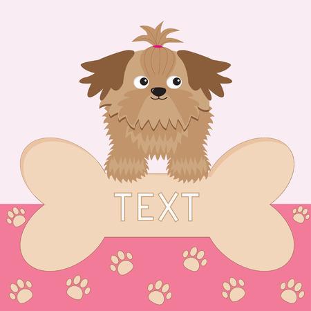 Little glamour tan Shih Tzu dog and big bone. Card. Paw print.  Vector