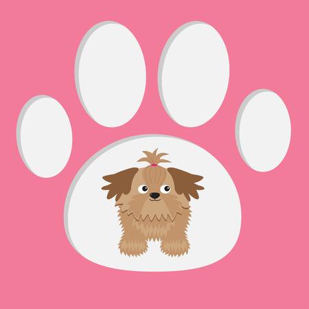 印刷の足で小さなグラマー日焼けシーズー犬。カード。