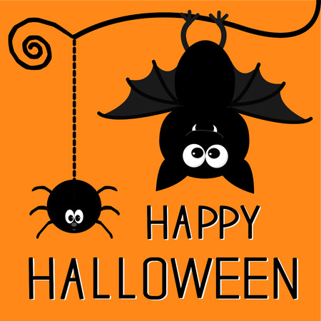 cartoon spider: Cute bat and hanging spider. Happy Halloween card.  Illustration