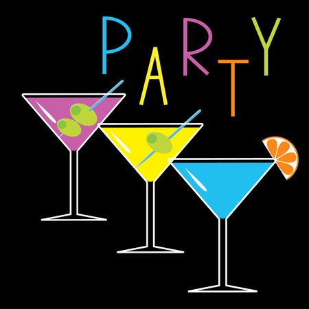 Set of three glasses with different cocktails. Black background. Cocktail party card. Vector illustration Vector