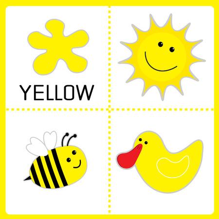 Aprender De Color Amarillo. Sun, Abeja Y Pato. Tarjetas Educativos ...