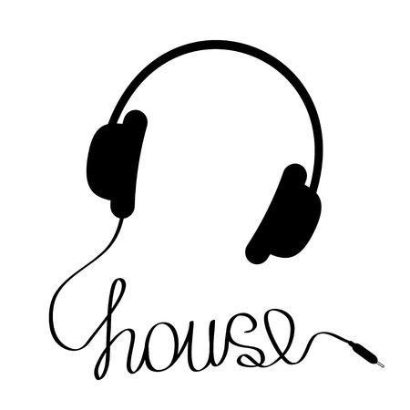 単語の家の形で紐で黒いヘッドフォン。音楽のカード。ベクトル イラスト。