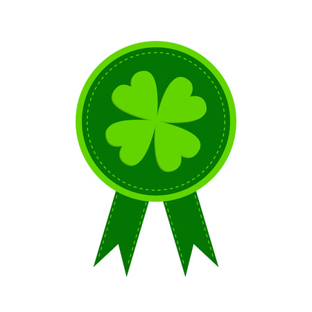 Round award with clover leaf and ribbons. Happy Patricks day. Isolated.  Vector illustration. Vector