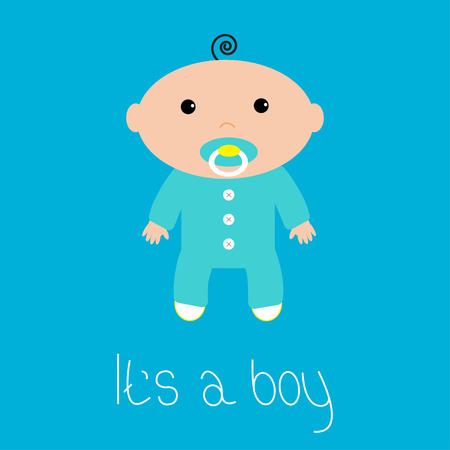 Baby shower card. Its a boy. Flat design style. Vector illustration.