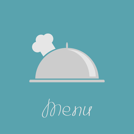 Silver platter cloche and chefs hat. Vector illustration. Vector