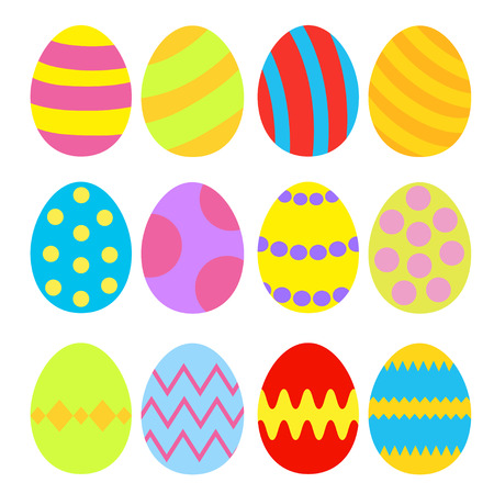 Easter eggs colorful set. Isolated. Vector illustration. Vector