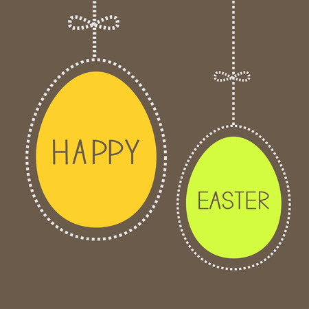 Hanging easter eggs with dash line and bow. Brown background. Vector illustration. Vector
