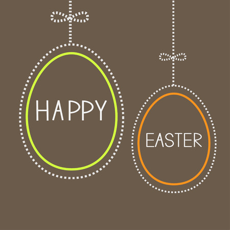 Hanging empty  easter eggs with dash line and bow. Brown background. Vector illustration. Vector