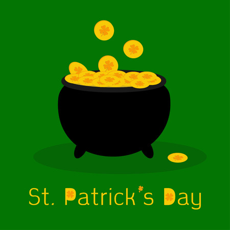 Black pot full of leprechauns gold coins with lucky clovers. St Patricks day. Flat design. Vector illustration. Vector