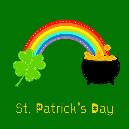 pot of gold: Clover leaf,  pot gold and rainbow. St Patricks day card. Flat design. Vector illustration.