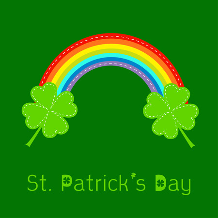 Rainbow and two clover leafs. St Patricks day card. Flat design. Vector illustration. Vector