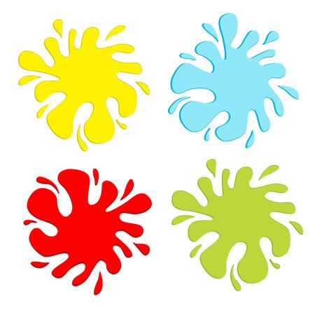 splodge: Colorful blot splash set. Inkblot. Flat design. Vector illustration. Illustration