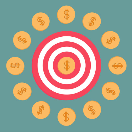 Target and dollar coins. Flat design. Vector Illustration Stock Vector - 25702830