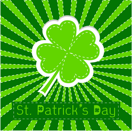Paper clover leaf. Sunburst background. Dash line. Happy St Patricks day. Vector illustration. Vector