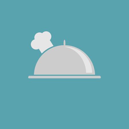Presenteerblaadje cloche en chef-koks hoed icoon. Vector illustratie.