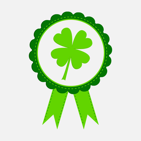 Round award with clover leaf and ribbons. Happy Patricks day. Vector illustration.