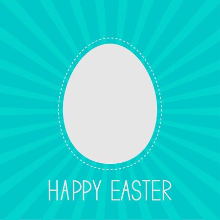 Easter egg frame template.  Dash line. Sunburst background . Card.  Vector illustration. Vector