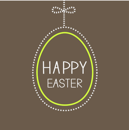 Hanging empty  big easter egg with dash line and bow. Brown background. Vector illustration. Vector