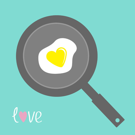 Egg in shape of heart on the frying pan. Flat design style. Vector illustration.