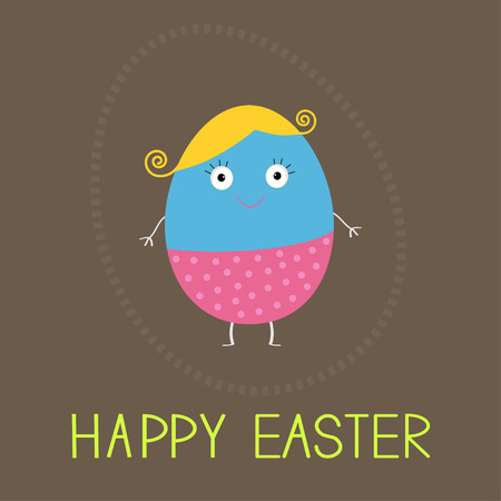 face card: Easter painted egg with cute face. Card. Vector illustration.