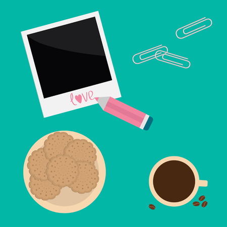 instant coffee: Instant photo, paperclips , pencil, biscuit cookie cracker cup of coffee. Love card. Vector illustration.