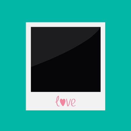 Instant photo with word love in flat design style. Card. Vector illustration. Vector