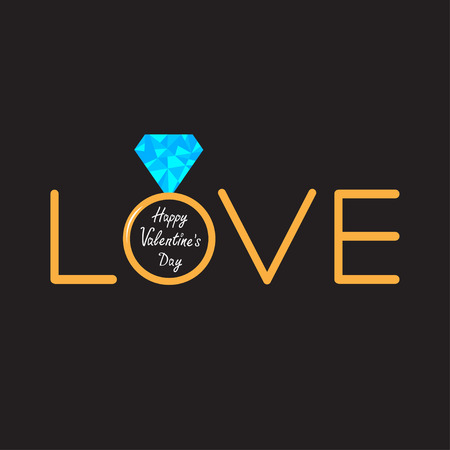 gold ring: Wedding  gold ring with polygonal blue diamond. Word love. Valentines day card. Vector illustration.
