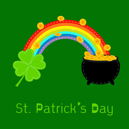 Clover leaf, rainbow and pot with gold coins. St Patricks day card. Flat design. Vector illustration. Vector