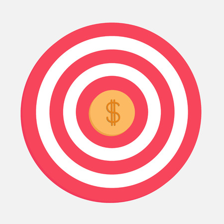 Target with big dollar coin. Flat design. Vector Illustration Vector