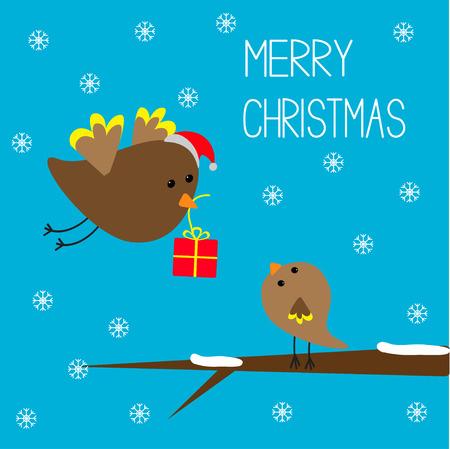 Vliegende vogel en baby vogel. Vrolijke Kerstkaart. Vector illustratie. Stock Illustratie
