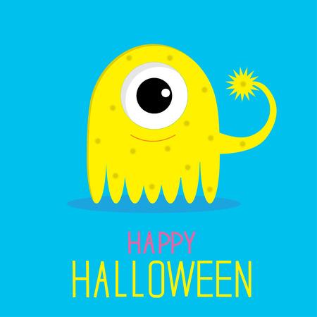 girl happy: Cute cartoon yellow monster girl. Happy Halloween card. Vector illustration.