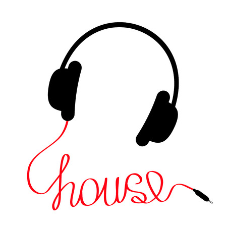 Black headphones with red cord in shape of word house. Music card. Vector illustration. Vector Illustration