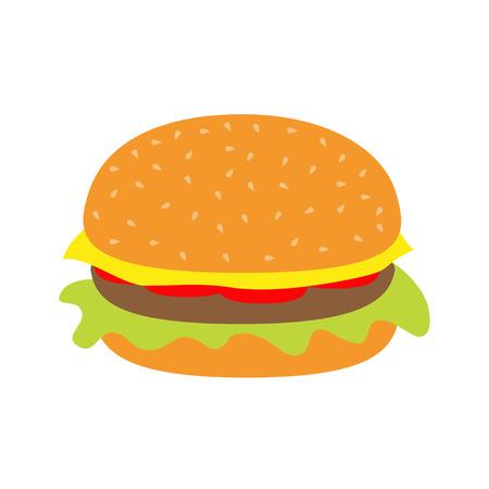hamburger bun: Tasty hamburger icon with meat, tomato, salad and cheese.  Vector illustration.