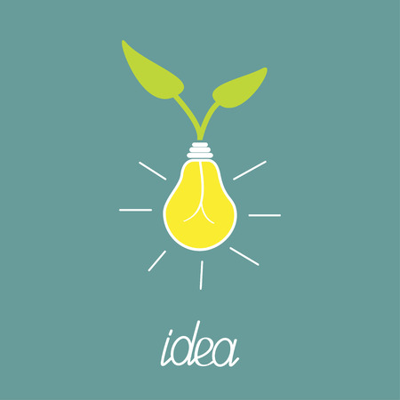 lump: Lump bulb with green leafs.  ECO energy idea concept. Vector illustration.