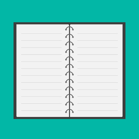 sketchpad: Open notepad with spiral and blank lined paper. Flat design. Vector illustration.