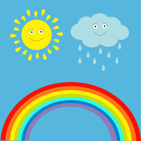 Cartoon sun, cloud with rain and rainbow set.  Children�s funny illustration. Vector. Vector