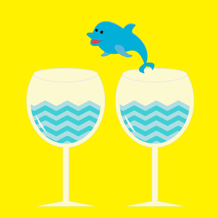 Cocktail drink glasses and jumping dolphin. Vector illustration. Vector