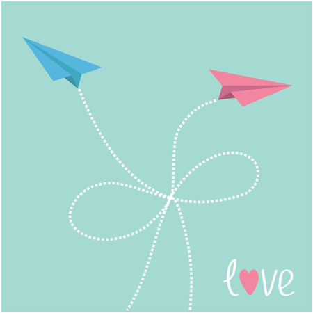 Origami paper plane in the sky with dash line bow. Love card. Vector illustration. Vector