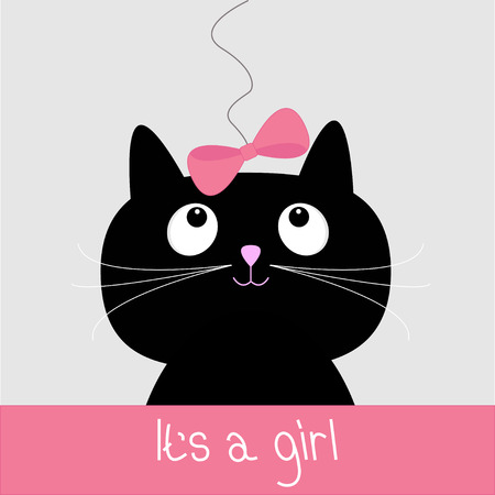 Cute cartoon black cat with blue bow. Baby shower card. It�s a girl. Vector illustration.  Vector